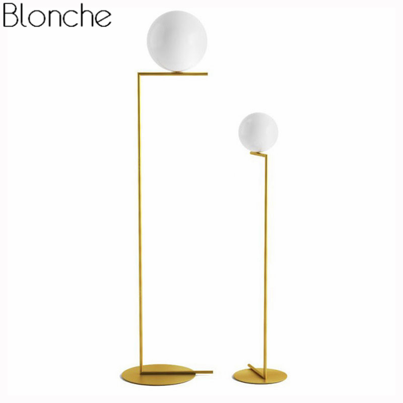 Nordic Simple Floor Lamps Glass Ball Standing Lamp Gold Light For