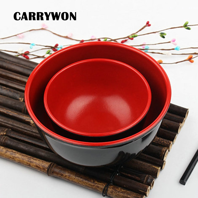 CARRYWON Instant Noodles/Steamed Rice Soup Bowl Of Korean Style Melamine Tableware In Red And Black Table Tools Hot Sell