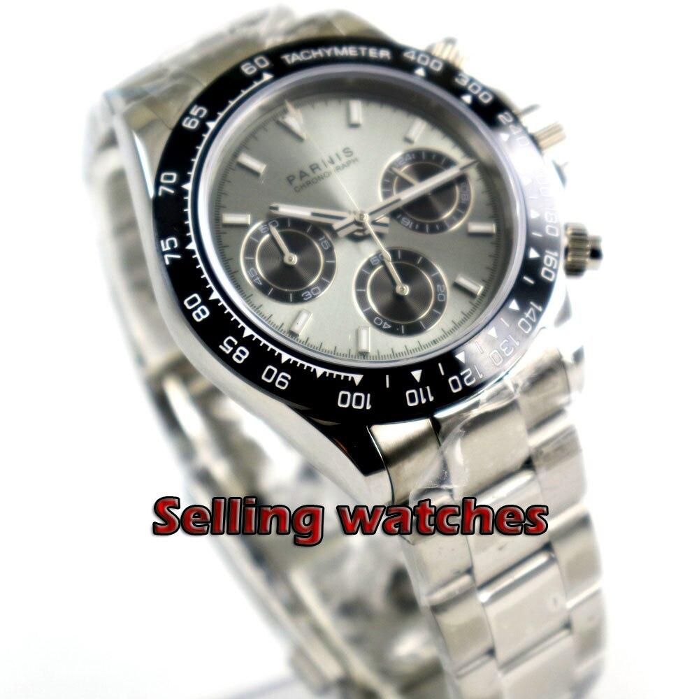 Solide 39mm PARNIS Quartz montre pour hommes chronographe complet cadran gris saphir lumineux verre chronomètre hommes