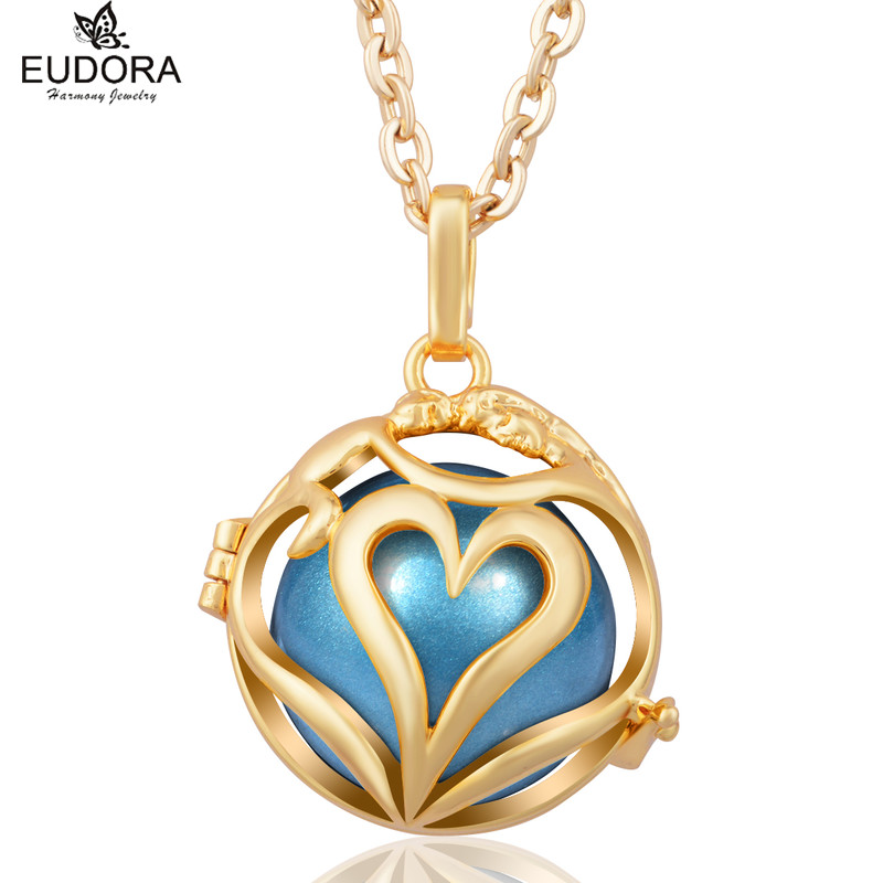 Love Each Other Hollow Heart Angel Caller Gold-Color Harmony Bola Cage Locket Pendant Necklace fit Chime Ball Pregnant Gift
