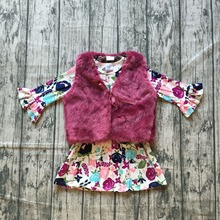 new arrivals baby girls fall/winter children clothes fur vest match wine floral pocket dress boutiuqe top kids wear soft warm