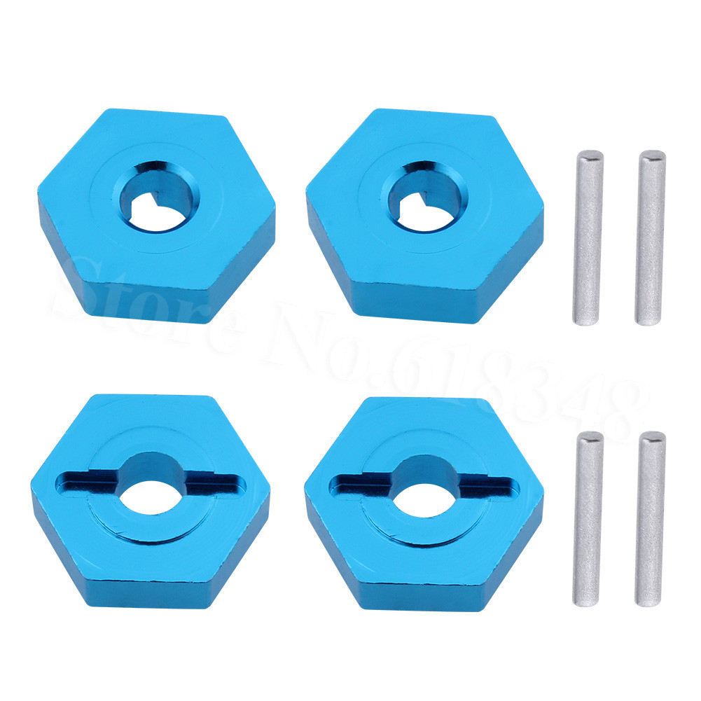 4pcs 7mm To 12mm Hex Aluminum Wheel Hub Convert Adapter 1/18 Turn 1/10 For Wltoys A949 A959 A969 A979 K929 RC Car Upgrade Parts