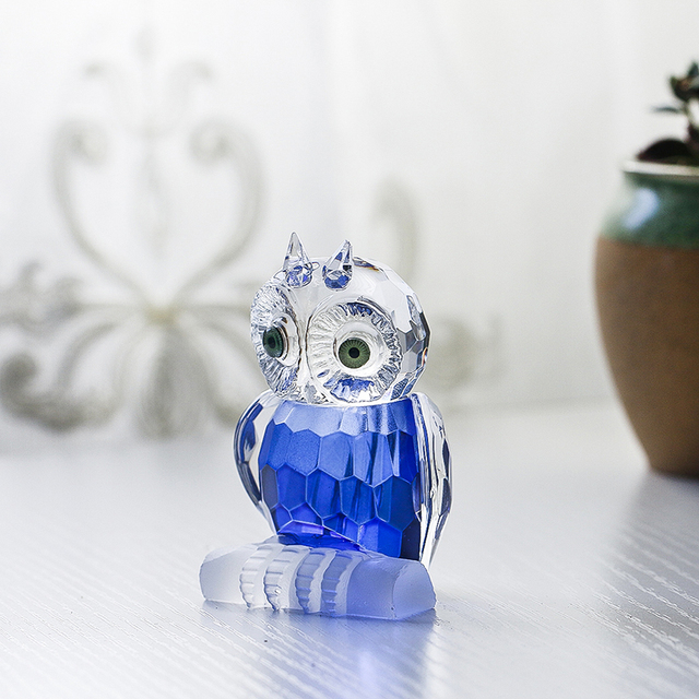 H&D Cute Crystal Owl Figurine Miniatures Art Glass Paperweight Animals Table Centerpiece Ornament Home Decor Kid's Gift(Blue) 3