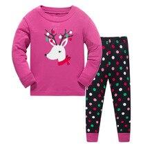 Детский пижамный комплект с рисунком оленя для девочек, одежда для сна, костюм Повседневная Дизайнерская одежда для сна из хлопка для мальчиков, домашняя одежда для девочек размер От 3 до 8 лет