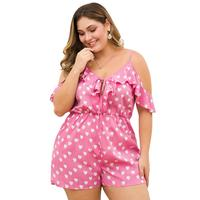 WHZHM Plus Size 3XL 4XL Pink Playsuits Women Heart Printed Ruffles Strap Short Sleeve Backless Loose Pants Deep V Neck Playsuits