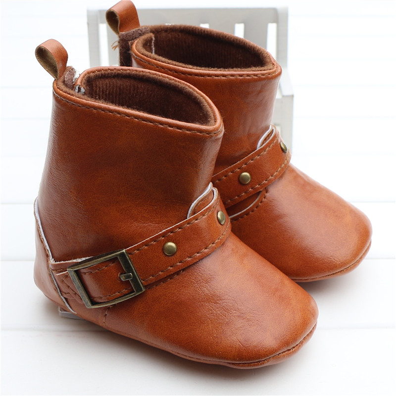 Brown Baby Classic Cowboy Boots PU Buckle Soft Soled Baby Girl Winter Boots Infant Toddler Winter Shoes First Walkers