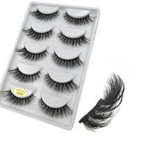 5 Pairs/Box Real Mink 3D False eyelashes Natural Short Winged Fake Eyelashes Cosmetic Made in China