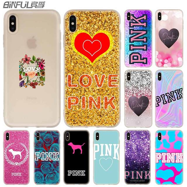 afe4154a39 Cases Silicone soft Cover for iPhone X XS Max XR 6 6S 7 8 Plus 5 4S SE xs  xr Pink victoria secret background