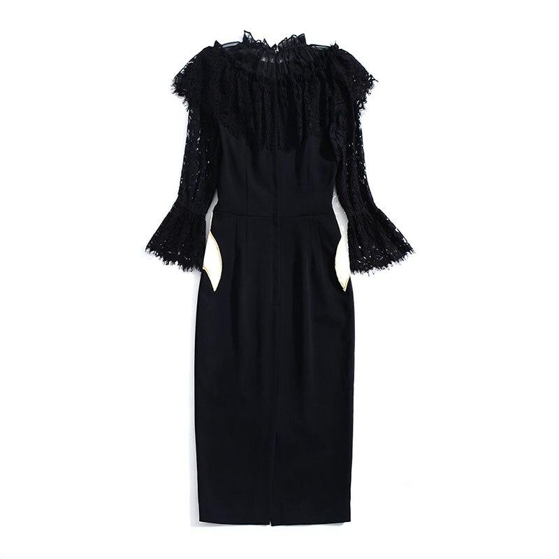 Robe Trois 2019 Printemps Mode Patchwork De Trimestre Manches Haute Femmes Jolie Doux Qualité Flare Dentelle Broderie DE2He9YWI