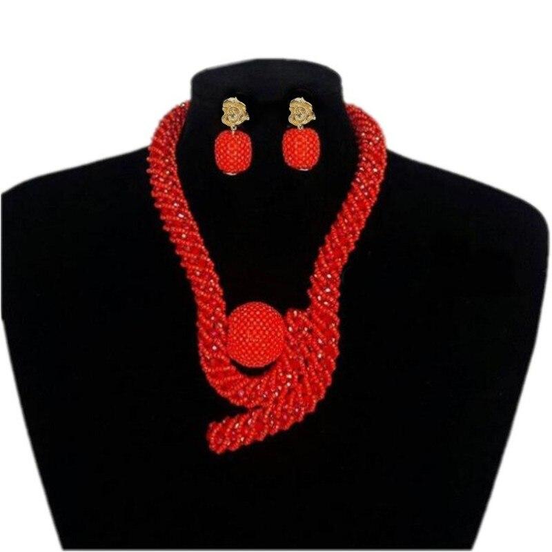 4 ubijoux Style africain femmes rouge bijoux ensemble cristal perlé grandes boules nigérian mariée bijoux ensemble pour mariée livraison gratuite 2019