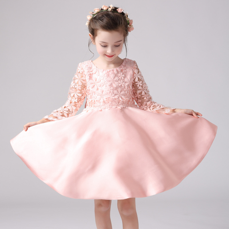 Pink Girls Lace Flower Wedding Dress Pink Dresses Long Sleeve Birthday Dress Kid Clothes Princess New Years Party Clothing YL196 guess new pink long sleeve ruched body con dress xl $89 dbfl