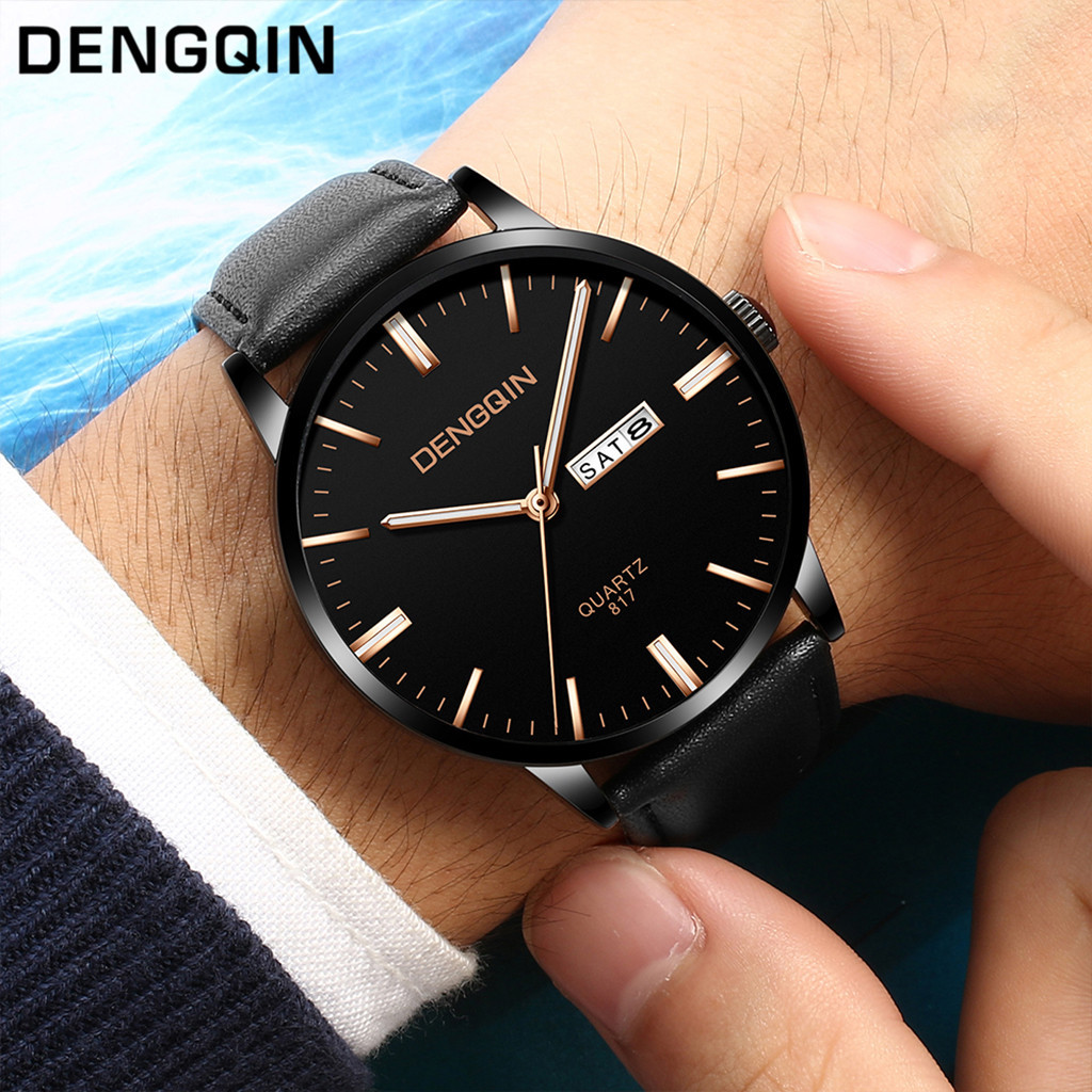 DENGQIN Men Wrist Watches Sport Military Stainless Steel Dial Leather Band Man Watch Quartz Watch Men Day Date Man Watches