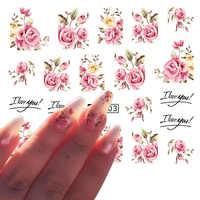 1 Sheets Nail Kunst Blume Rosa Farben Rose Wasser Design Tattoos Nagel Aufkleber Abziehbilder für Schönheit Maniküre Werkzeuge TRA403/ STZ