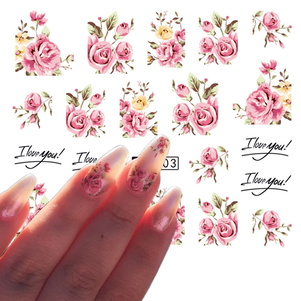 1 Sheets Nail Art Flower Pink Colors Rose Water Design Tattoos Nail Sticker Decals For Beauty Manicure Tools TRA403/STZ