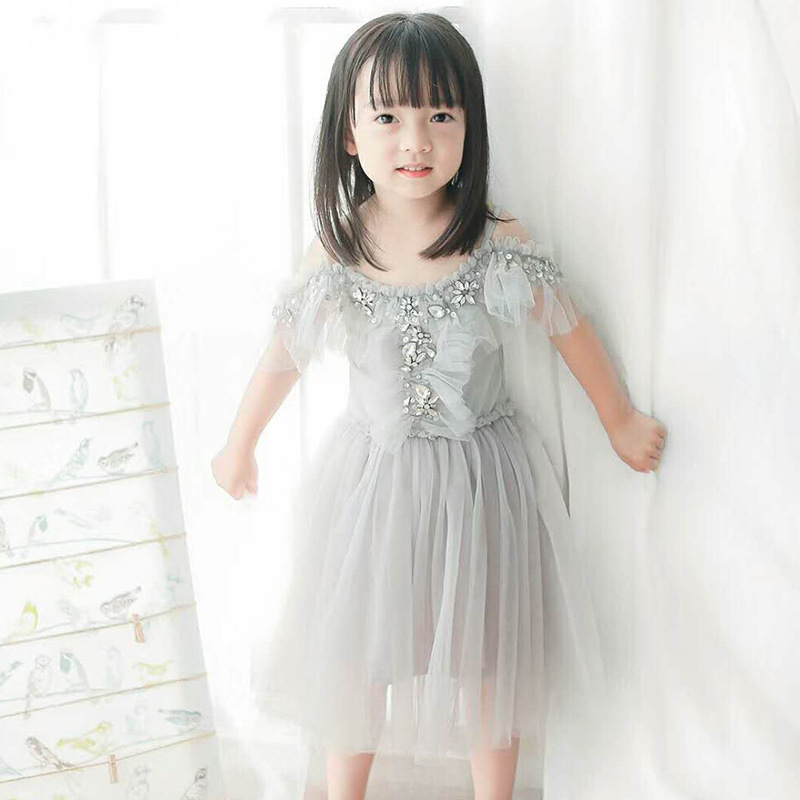 kids girls dress solid gray princess baby girls dresses kids girls dress solid gray princess baby girls dresses