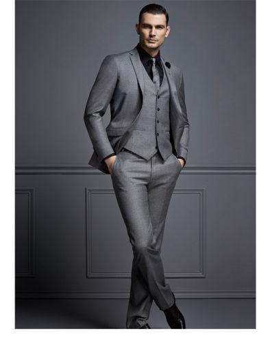 2017 Latest Coat Pant Design Bright Gray Italian Custom Made wedding Suit for Men Formal Slim Fit Tuxedo 3 Piece Vestidos F