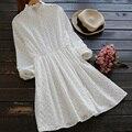 Resorte de las mujeres sweet casual lindo collar con volantes de algodón blanco lolita dress mori chica vantage fariy femenina de manga larga básica u077