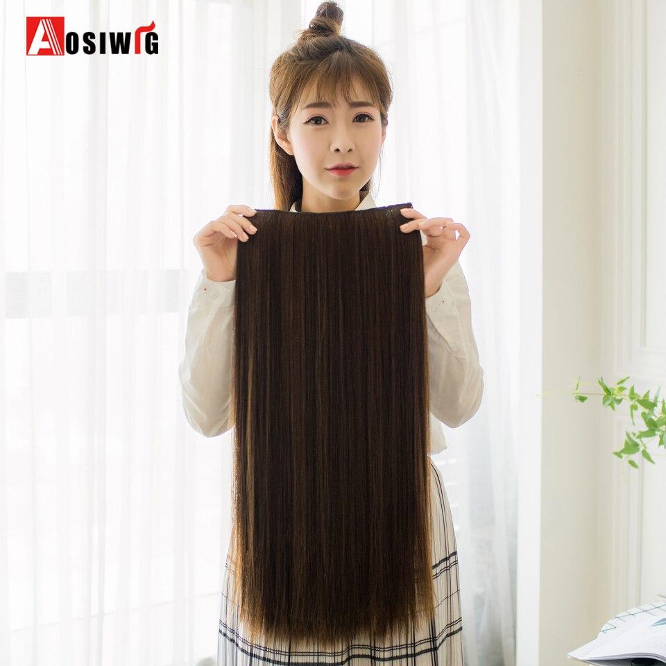 AOSIWIG 24 tum långa raka syntetiska hårförlängningar 5Clips i - Syntetiskt hår - Foto 1