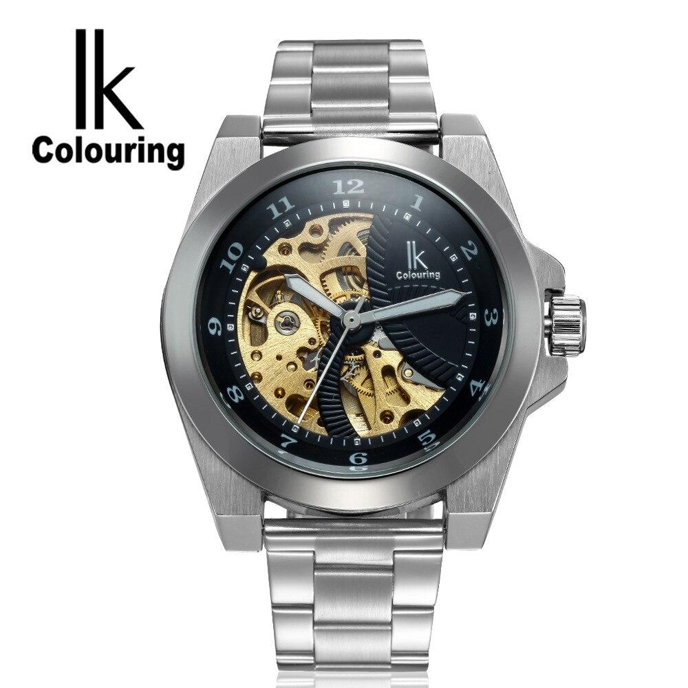 цена на Luxury IK Coloring Luxury Men Hardlex Skeleton Auto Mechanical Waterproof Wristwatch Oringal Box Free Ship