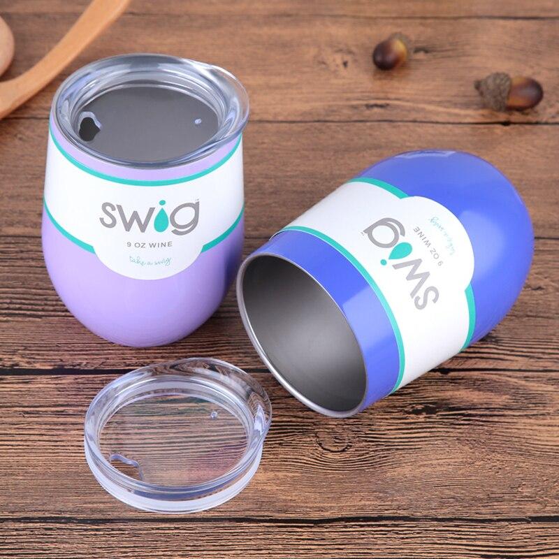 ¡Venta caliente! 9 oz huevo Shapped taza trago copas de vino de acero inoxidable trago vaso aislado termo de viaje taza de café trago de cerveza taza