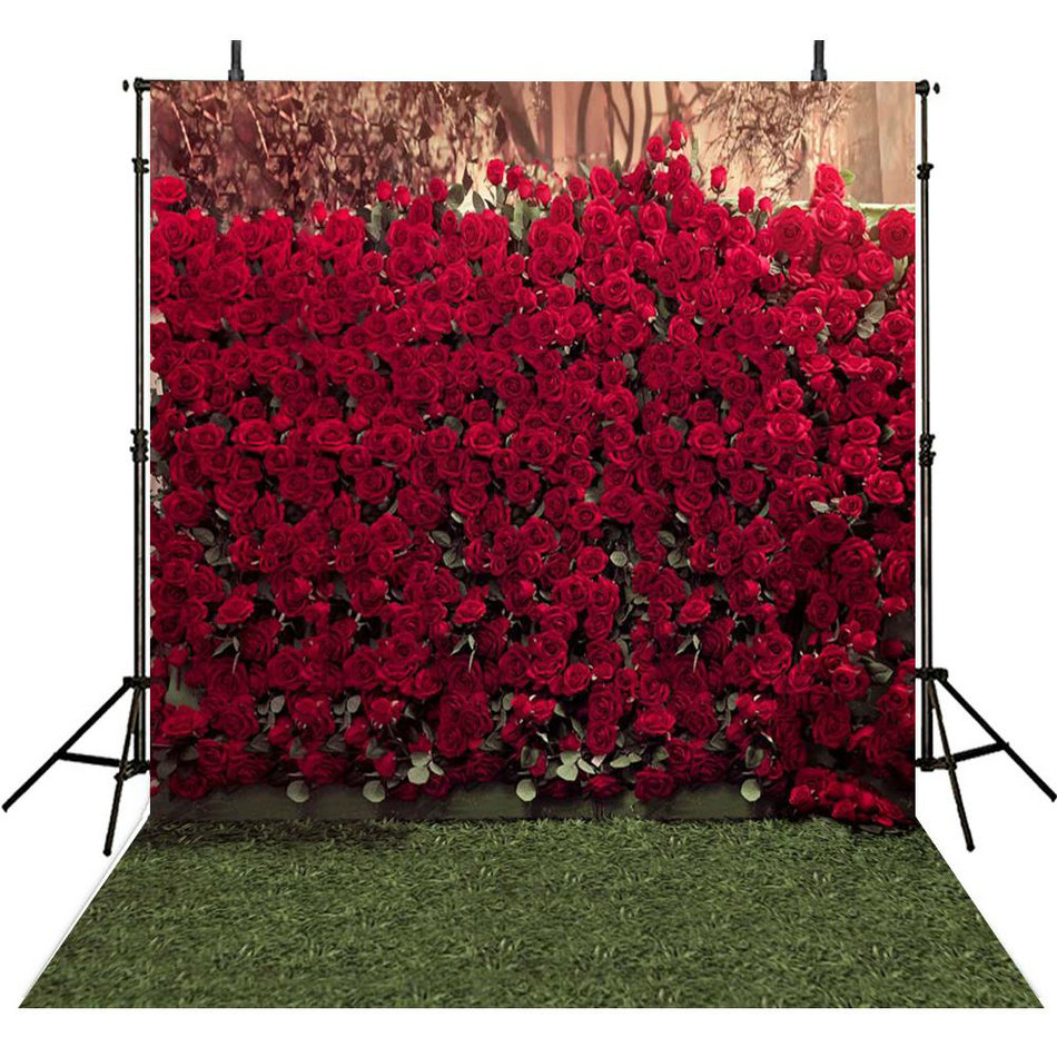 3D Red Rose Flower wall green Grass  backdrop Vinyl cloth High quality Computer print wedding Photography Backgrounds vintage castle retro medieval architecture stone bridge mountain backdrop vinyl cloth computer print wall backgrounds