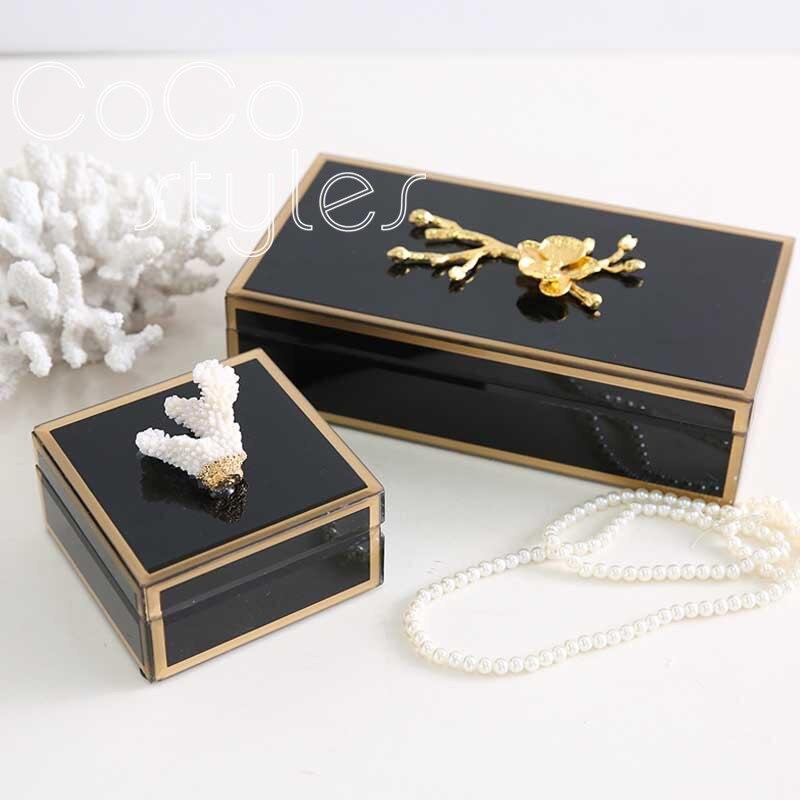 Cocostyles artistique élégant noir jewel cas de stockage avec bord d'or pour la maison de style européen décoration de demoiselle d'honneur cadeau boîte