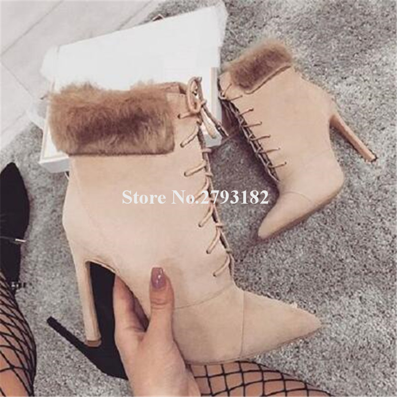 Winter Women Sexy Pointed Toe Suede Leather Ankle Fur Thin Heel Short Boots Lace-up Black Beige High Heel Ankle Warm Boots