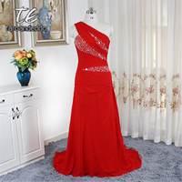 One Shoulder Red Evening Dress Ruched Chiffon Sequins Beading Corset Prom Dress Court Train Party Gowns