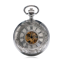 Practical Silver White Skeleton Mens Carved Mechanical Classic Pocket Watch Chain Gift