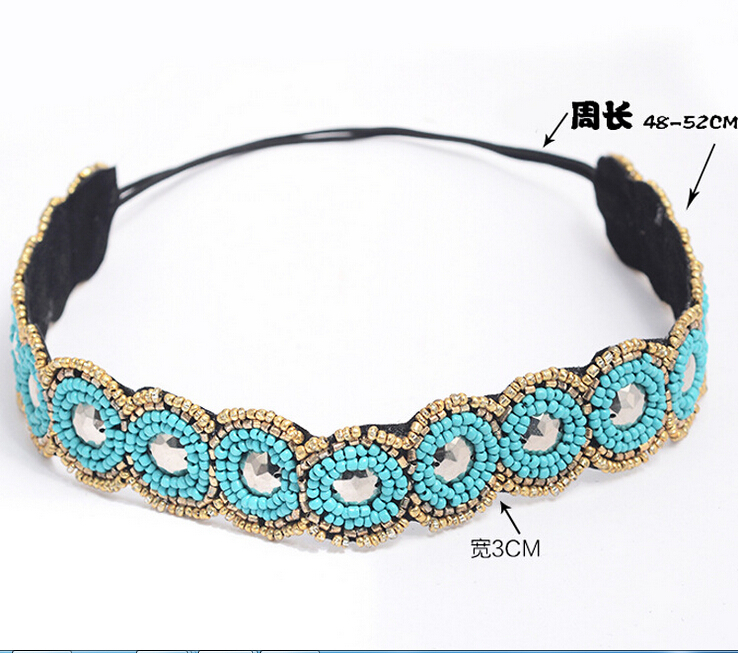 Fashion Ethnic Vintage Bohemian Turquoise Beads Stone Braided Knitted Handmade Flower Elastic Headband Tribal Hair Accessories vintage bohemian ethnic colored tube seed beads flower rhinestone handmade elastic headband hair band hair accessories