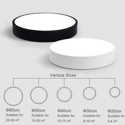 Cadre en métal rond blanc/noir de bord de LED contracté moderne avec la télécommande acrylique de plafonnier de couverture pour l'appareil d'éclairage de salon