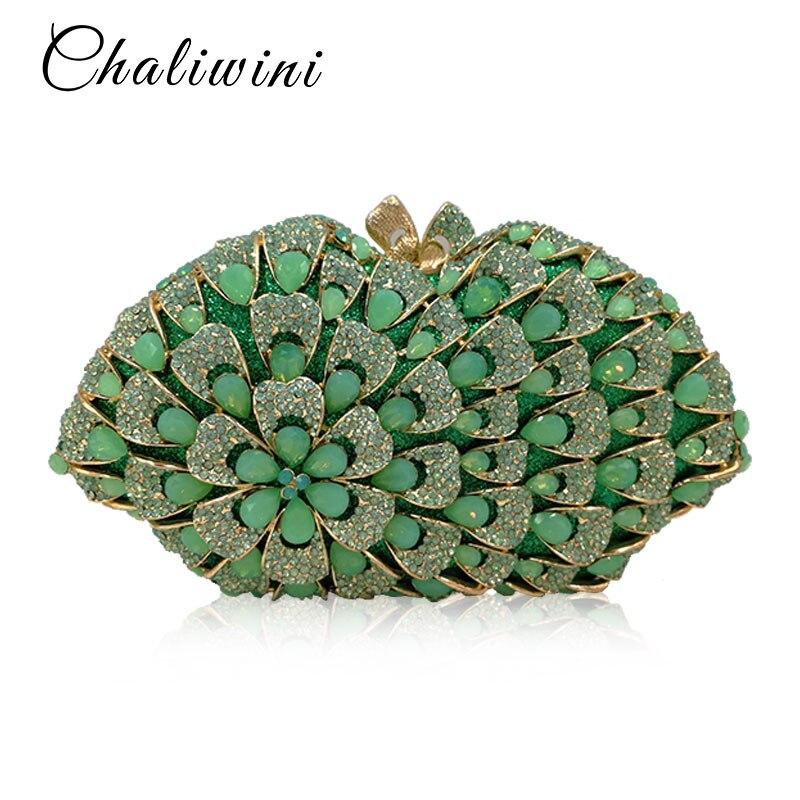 Nouveau vert porte-fleurs femmes Messenger sac moraillon avec chaînes épaule pochette soirée Femme sacs à main Baellerry portefeuille