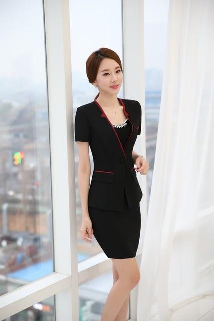 New Elegant Black Professional Business Suits With Jacketini Skirt Formal Ol Styles Las Blazers