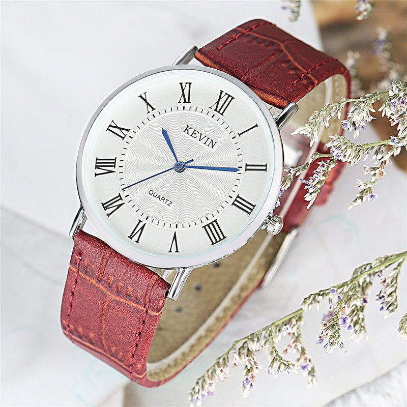 KEVIN Women Watches Simple Fashion Quartz-watch Roman Numeral Casual Leather Male Female Dress Wristwatch Clock Relogio Feminino sinobi fashion vintage style women casual watch dress rhinestone leather strap watches lady wristwatch clock with roman numerals