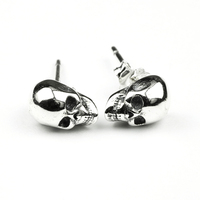 925 Sterling Silver Skull Earrings