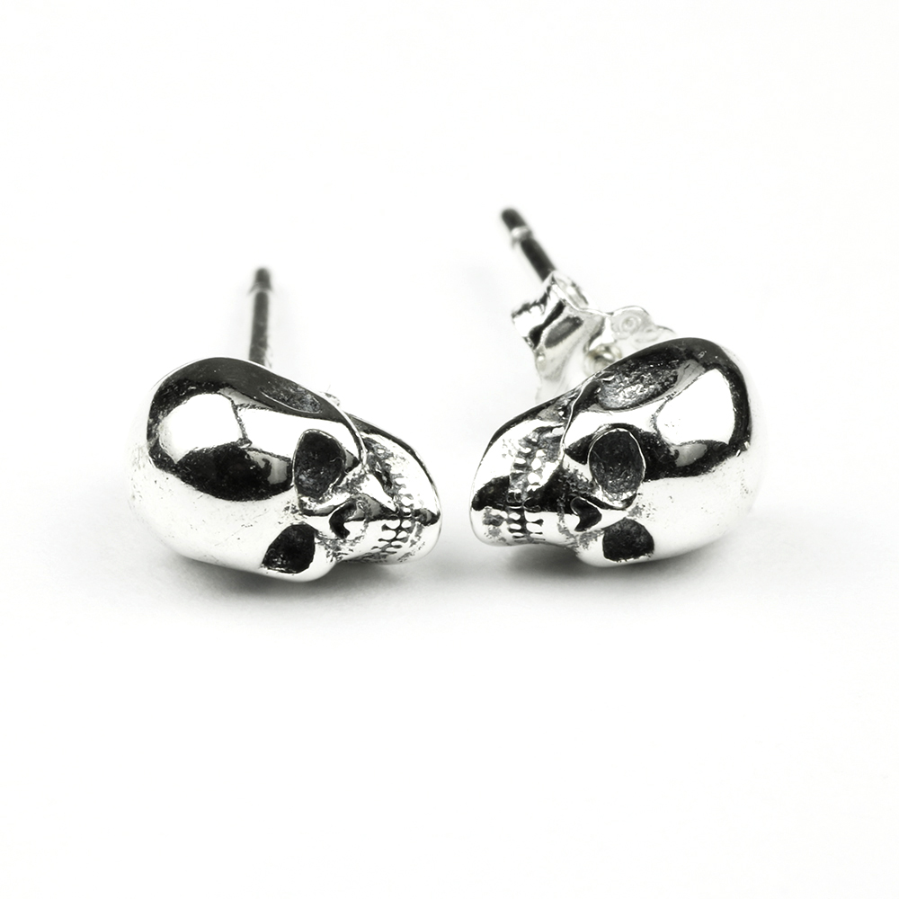 925 Sterling Silver Skull Earrings Studs Set Small Rock Punk Gothic Vintage Jewelry For Men And Women Brinco Masculino