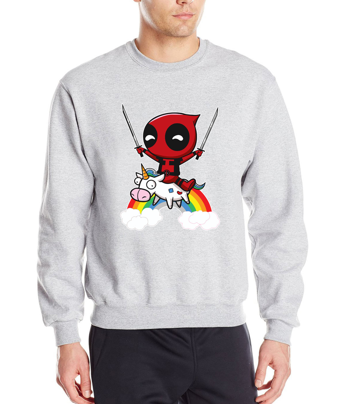HAMPSON LANQE Deadpool Superhero Sweatshirts Hoodies Men 2019 New Style Autumn Winter Casual Fleece Hoody Loose Fit Sportswear