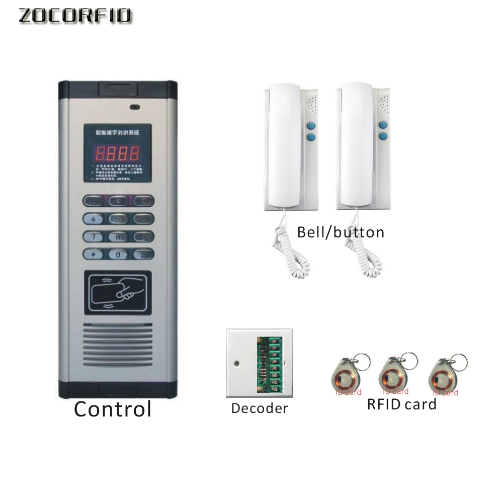 Free shipping DIY RFID access control system +doorphone Building intercom system +2 doorphone+ decoder+10pcs RFID cards free shipping 10pcs tt6222 2