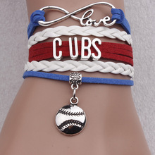 "Cheap Fashion Leather Jewlery with Silver Plated Letter of "" Cubs""Football Charm Braided Wristband Bracelet Bangles for Unisex"