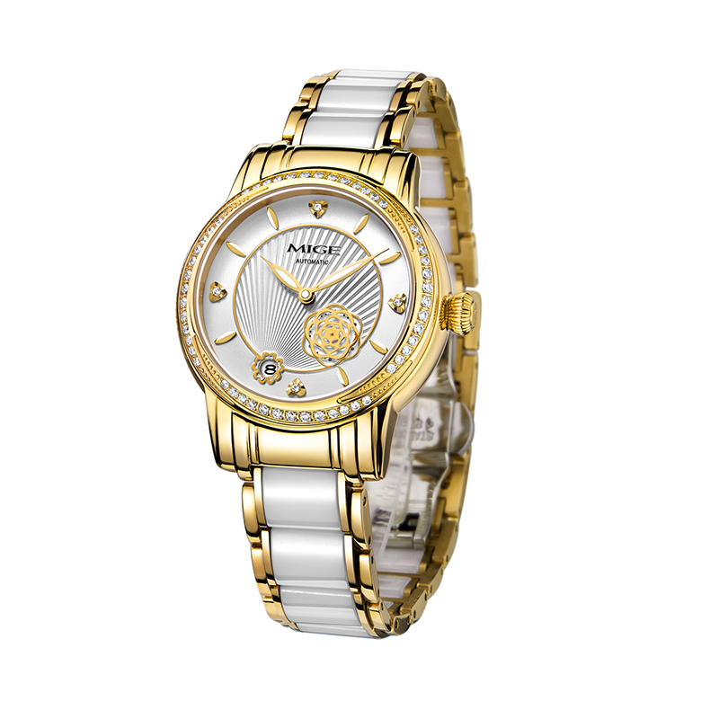Mige Real Sale Mige Diamond Mechanical Female Watches Skeleton Saphire Dial White Rose Ceramic Waterproof Automatic Women Watch mige 2017 top fashion time limited sale sport watch white steel watchband saphire dial waterproof case quartz man wristwatches