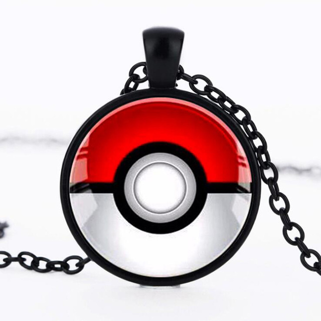 2016 Vintage Women Necklace Glass Dome Cabochon Pokemon GO Charm Pendant  Chain Necklace Silver Statement Collier Jewelry Making