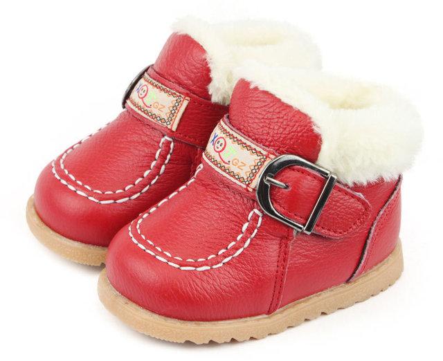 Bebé del cuero genuino de cuero real boots primeros caminante del bebé Zapatos calientes del algodón infantil del bebé Zapatos párr S0742