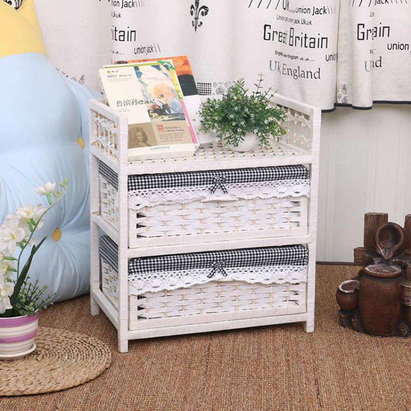 White Rattan Storage Cabinet Drawer