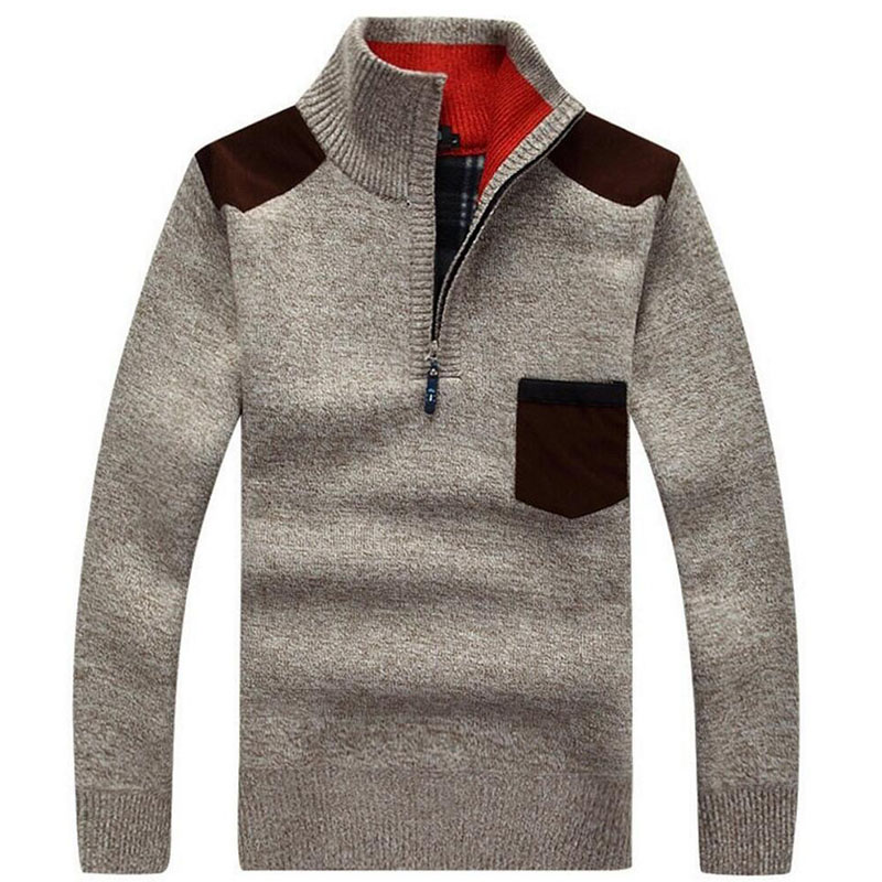 Winter Knitted Jumpers Men's Turtleneck Sweatercoat zip Up Sweaters Warm wool liner Coat outerwear basic Pullovers pocket grey