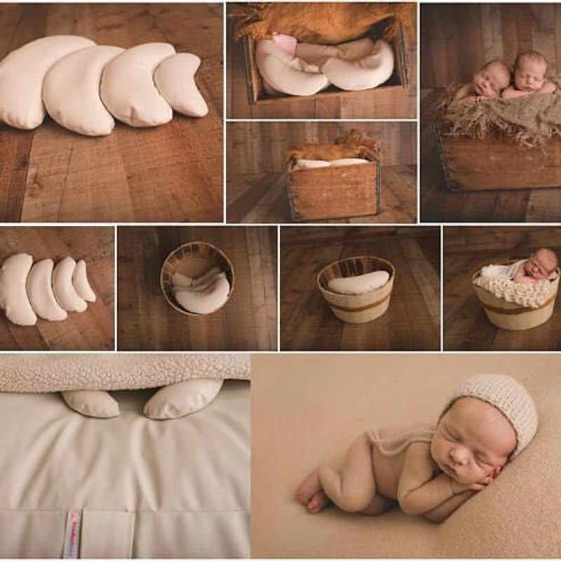 5 pièces/ensemble nouveau-né infantile photographie accessoires lune forme bébé posant positionneur haricots sac bébé oreiller literie blanc/multicolore