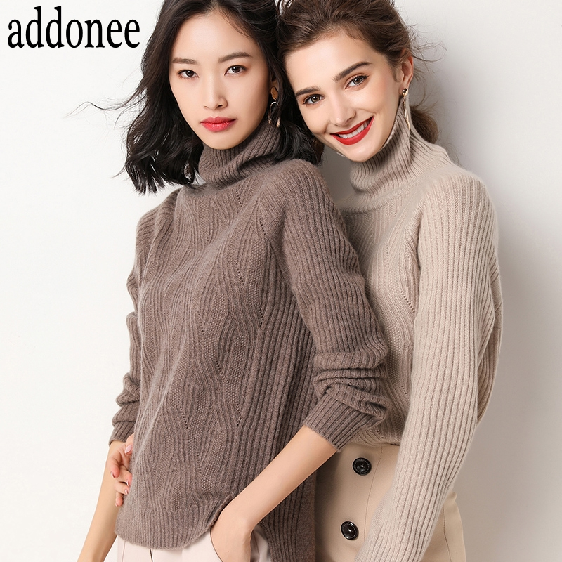 New Style High Quality Autumn Winter Women Cashmere Wool Sweater Pullovers Warm Soft Loose Turtleneck Fashion Casual Wild-in Pullovers from Women's Clothing    2