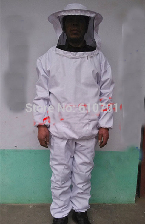Beekeeping Full Suit with Veil /Jacket and Pants Smock Bee Suit Equip WhiteBeekeeping Full Suit with Veil /Jacket and Pants Smock Bee Suit Equip White