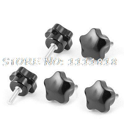 30mm Star Head Dia M6 x 20mm Male Thread Screw On Type Clamping Knob 5 Pcs часы радо dia star