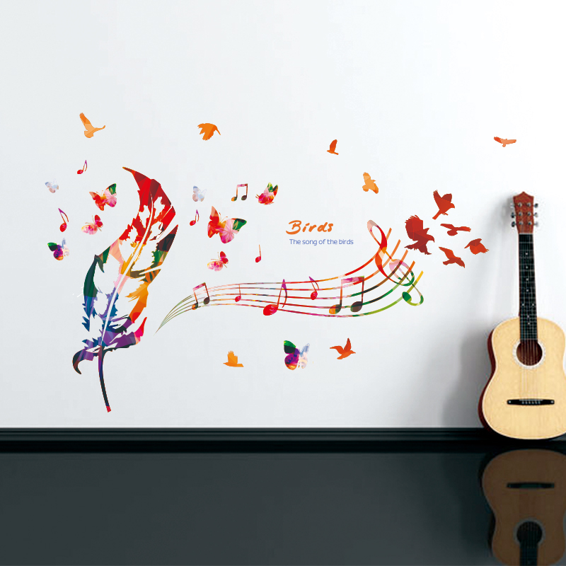 Pvc colored feathers musical notes wall sticker waterproof removable living bedroom mural wall - Music note wallpaper for walls ...