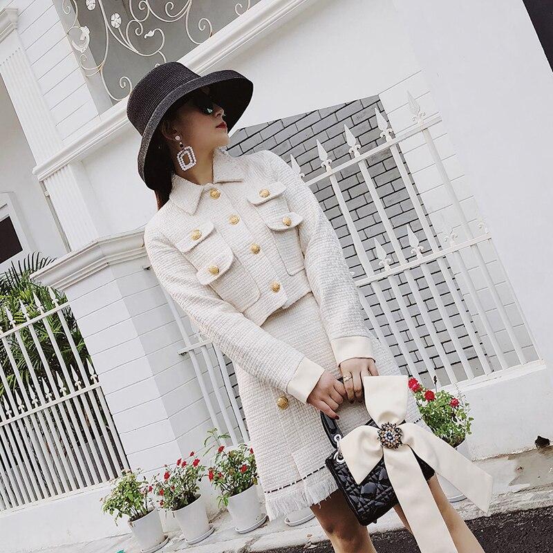 Tweed Suit Set Bow Sets Long Sleeve Skirt Suit Designs Slim 2 Pcs Set Women Skirt Sets Suit Jacket Coat+Tassel Wool Blend Suits